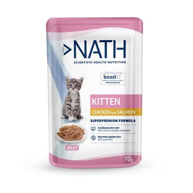 Nath sobre Kitten pollo y salmón para gatito