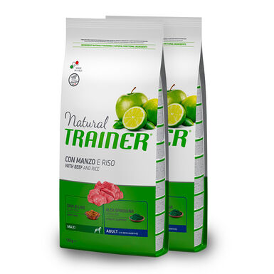 Natural Trainer Adult Maxi ternera, arroz y ginseng - 2x12 kg Pack Ahorro