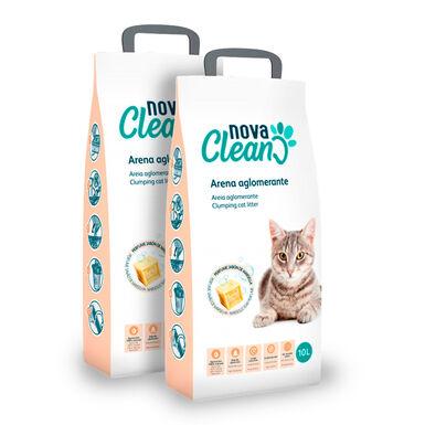 Lecho Aglomerante Nova Clean 10 litros para gato - 2x10 L Pack Ahorro