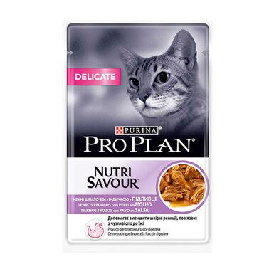 Pack 24 x 85 gr Purina Pro Plan NutriSavour Delicate Feline sobre pavo en salsa