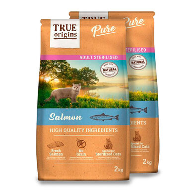 True Origins Pure Cat Adult Sterilised Salmón - 2x2kg Pack Ahorro
