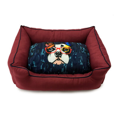 Cama Dogzzz Color Block Burgungy Bulldog Pausa
