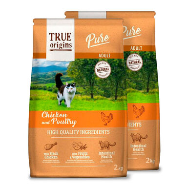 True Origins Pure Cat Adult Poultry Pollo - 2x2 kg Pack Ahorro