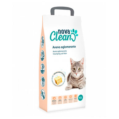 Lecho Aglomerante Nova Clean 10 litros para gato