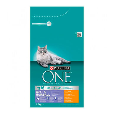 Purina One Gato Pelaje pollo y cereales integrales 1.5kg