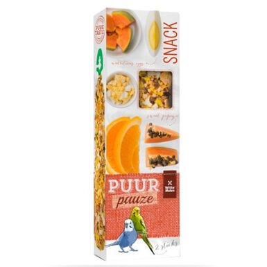 Puur snack de frutas y huevo para periquitos