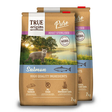 True Origins Pure Cat Adult Sterilised Salmón - 2x7kg Pack Ahorro
