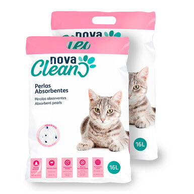Perlas absorbentes Nova Clean para Gatos - 2x16 L Pack Ahorro