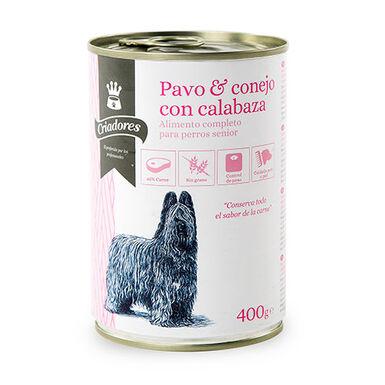 Criadores Senior pavo-conejo comida húmeda perros