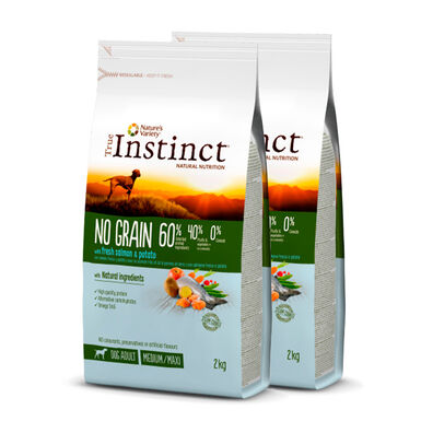 True Instinct Medium/Maxi Adult No Grain con salmón - 2x12 kg Pack Ahorro