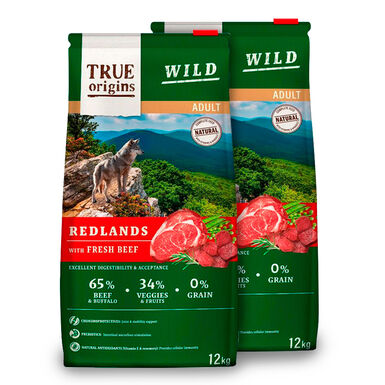 True Origins Wild Dog Redlands Adult - 2x12 kg Pack Ahorro
