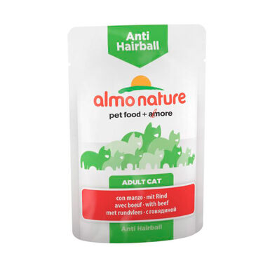 Almo Nature Anti Hairball sobre comida húmeda para gato 70 gr