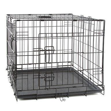 TK Pet jaula para perros plegable de metal negro