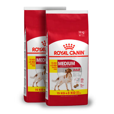 Royal Canin Medium Adult - 2x(15 kg+3 kg) Pack Ahorro
