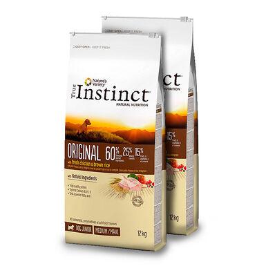 True Instinct Original Medium/Maxi puppy con pollo y arroz integral - 2x12 kg Pack Ahorro