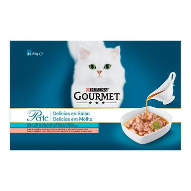 Perle Delicias en Salsa con Salmón y Atún de Purina Gourmet para gato 4x85gr