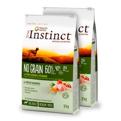 True Instinct Medium/Maxi Adult No Grain con pollo - 2x12 kg Pack Ahorro