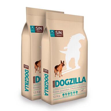 Dogzilla Pollo Sin Cereales Razas Grandes - 2x12 kg Pack Ahorro