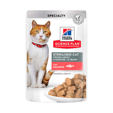 Pack 12 Sobres Hill's Science Plan Young Adult Sterilised Cat Salmón
