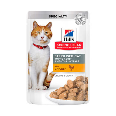 Pack 12 Sobres Hill's Science Plan Sterilized Cat Young Adult pollo 85gr