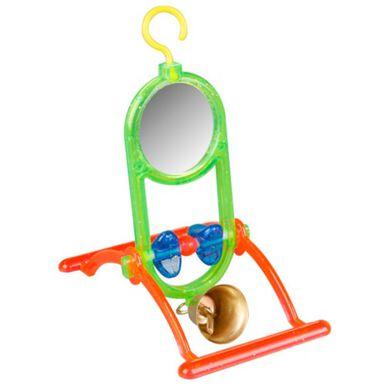 Flamingo espejo con campana juguete para pájaros