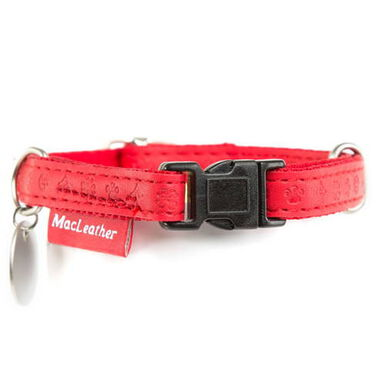 MacLeather Classic collar para perros color rojo