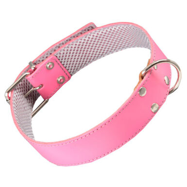 Arppe cuero rosa con forro interior collar perros