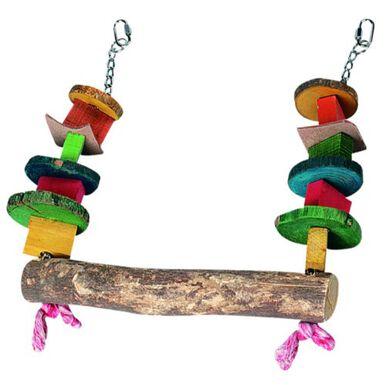 Flamingo columpio madera para loros con abalorios
