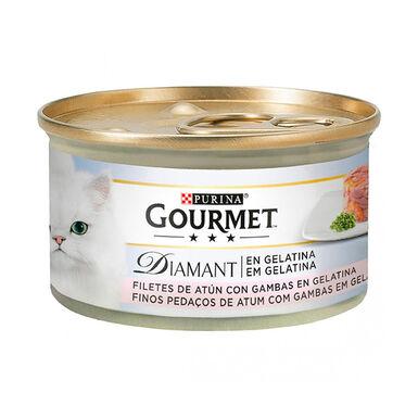 Pack 24 Latas Gourmet Diamant Feline láminas atún gelatina y gambas 85 gr