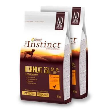 True Instinct Medium/Maxi Adult High meat con pollo y aves seleccionadas - 2x12 kg Pack Ahorro