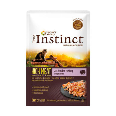 Pack 8 Sobres True Instinct High Meat Feline Pouch 70 gr