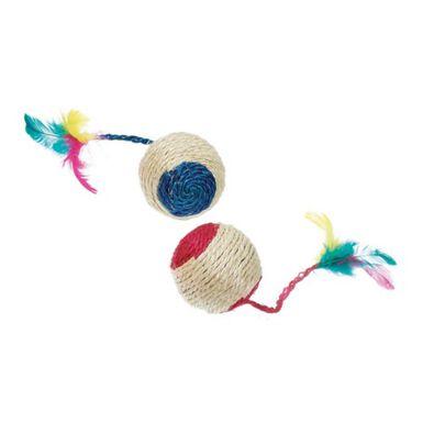 Flamingo sisal con sonajero y pluma pelota gatos