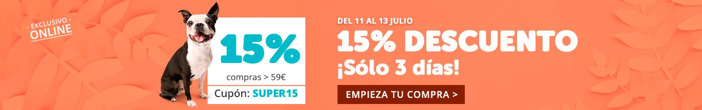 Sólo 3 días, ¡15% de descuento en toda la web!