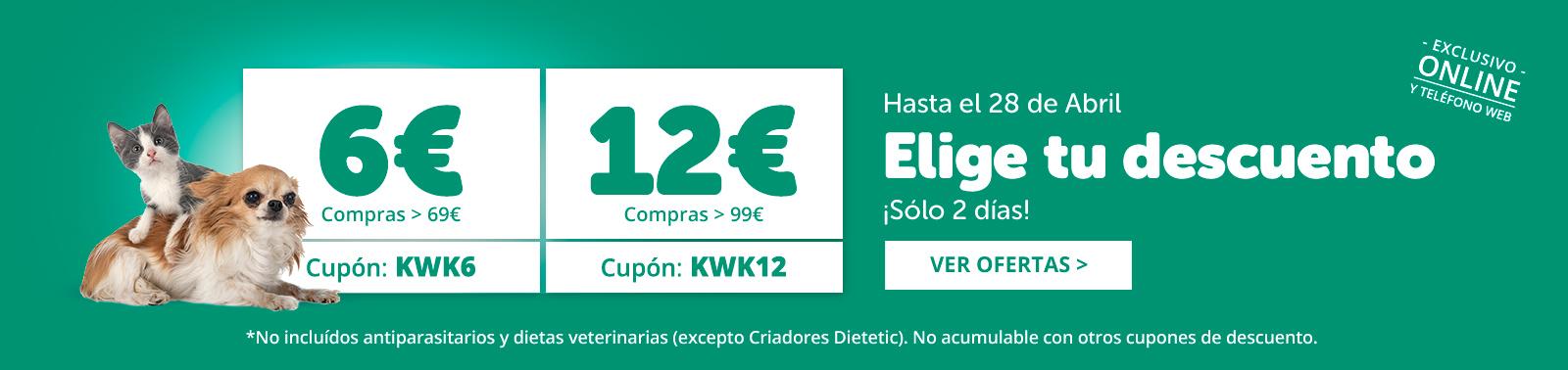 Cupones ahorro: 6€ o 12 € dto.