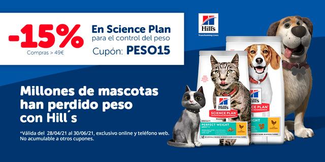 15% en pienso hills Science Plan para control del peso