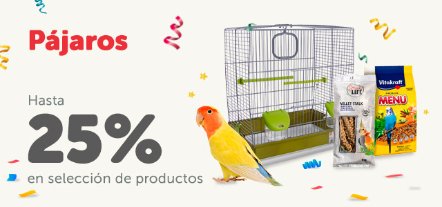 Hasta 25% en productos de pájaros