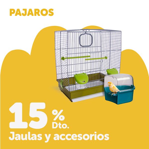 15% de descuento en jaulas y selección de accesorios para pájaros