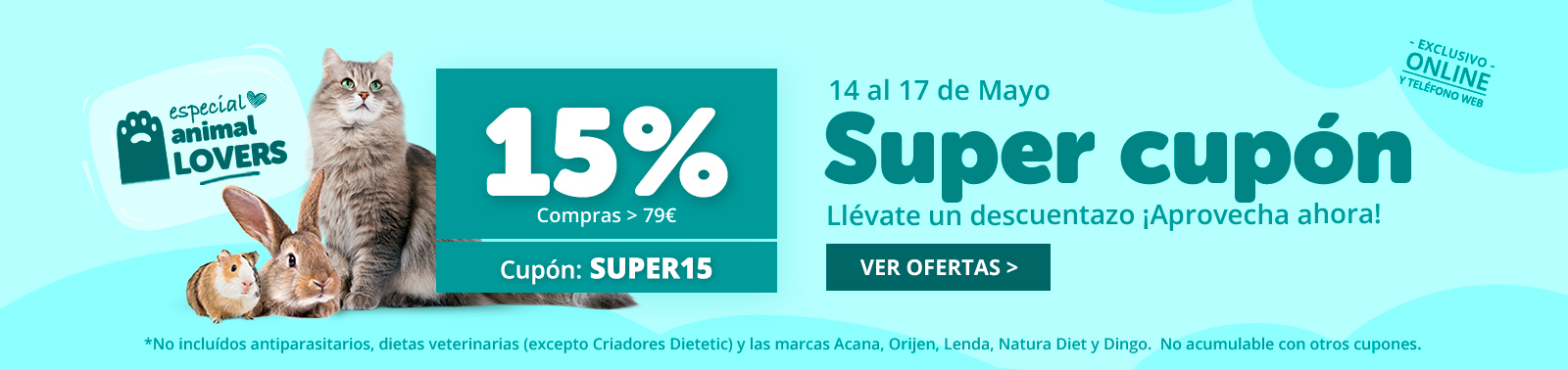 ¡15% de descuento en compras online!