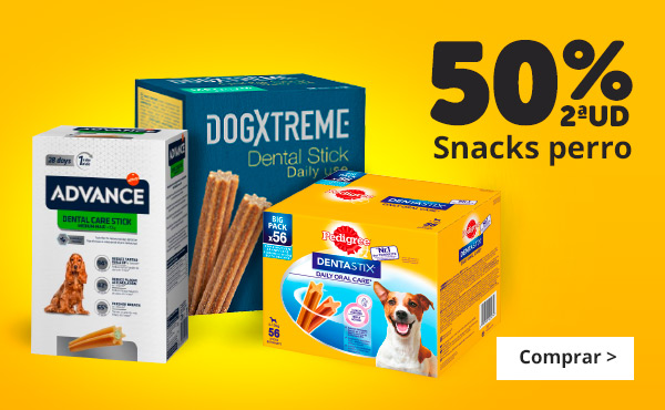 Todos los snacks para perro  con 2ª al 50%