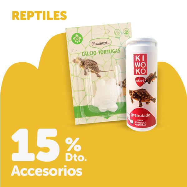 15% de descuento en terrarios, tortugueras y selección de accesorios para reptiles