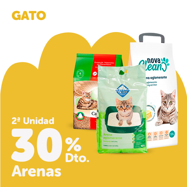 2ª al 30% en arenas para tu gato
