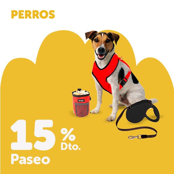 15% de descuento en accesorios de paseo y ropa para perro
