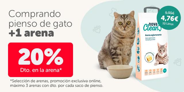 Consigue un 20% dto. en arenas comprando pienso para gatos