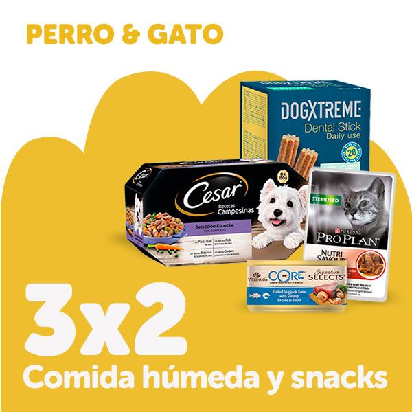 3x2 snacks perro y gato