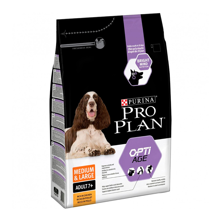 Purina Pro Plan Adult 7+ Medium & Large OptiAge pollo 14 kg, , large image number null