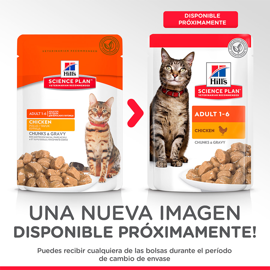 Pack 12 sobres Hill's Science Plan Feline Adult pollo 85gr, , large image number null