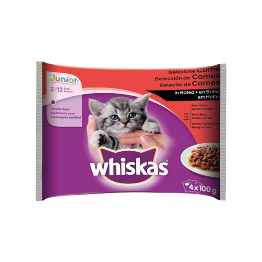 Whiskas Junior New Generation 4 x 100 gr selección de carnes, , large image number null