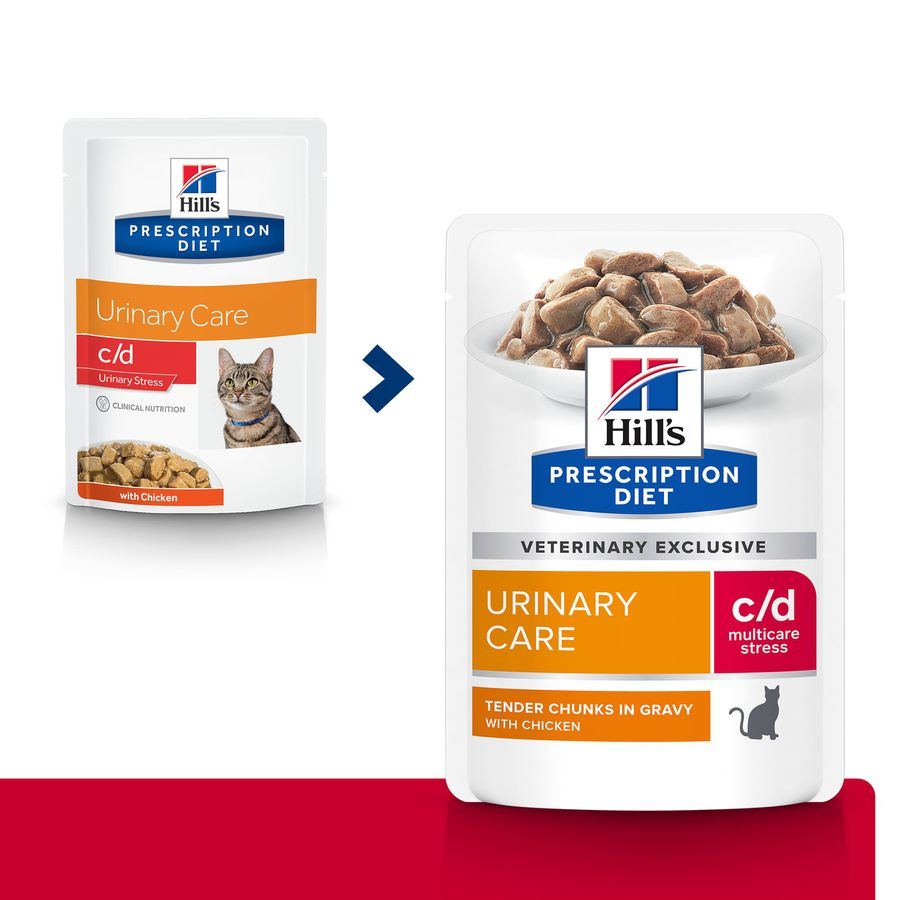 Pack 12 Sobres Hill's Feline Prescription Diet c/d Urinary Stress pollo 85 gr, , large image number null