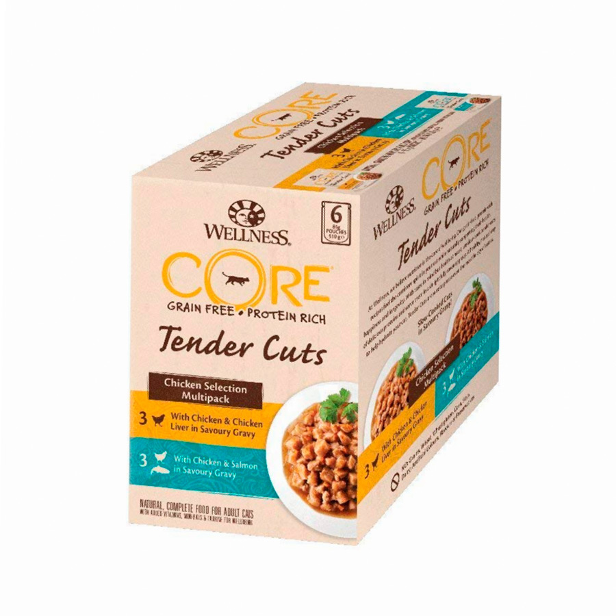 Wellness Core Tender Cuts Chicken Selection para gatos Pollo 6 x 85 gr, , large image number null