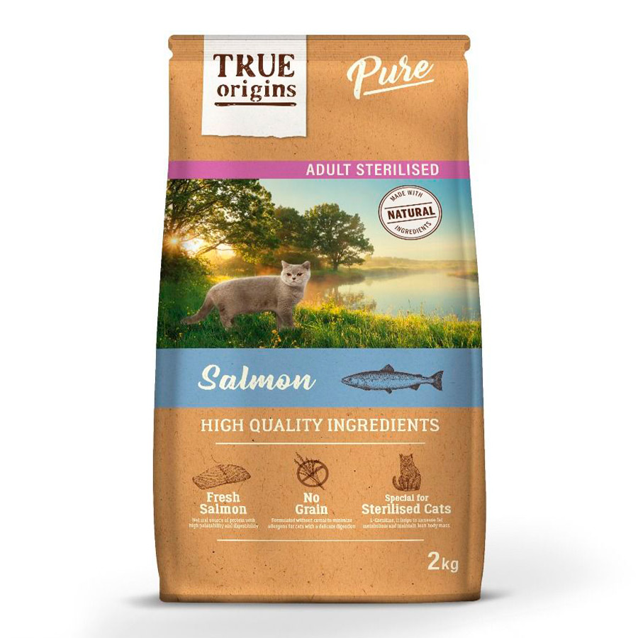 True Origins Pure Cat Adult Sterilised Salmón - 2x2kg Pack Ahorro, , large image number null